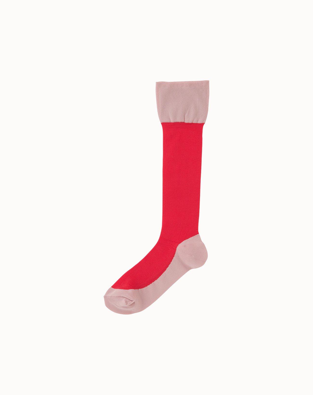 leur logette - Sheer Pattern Socks-Red