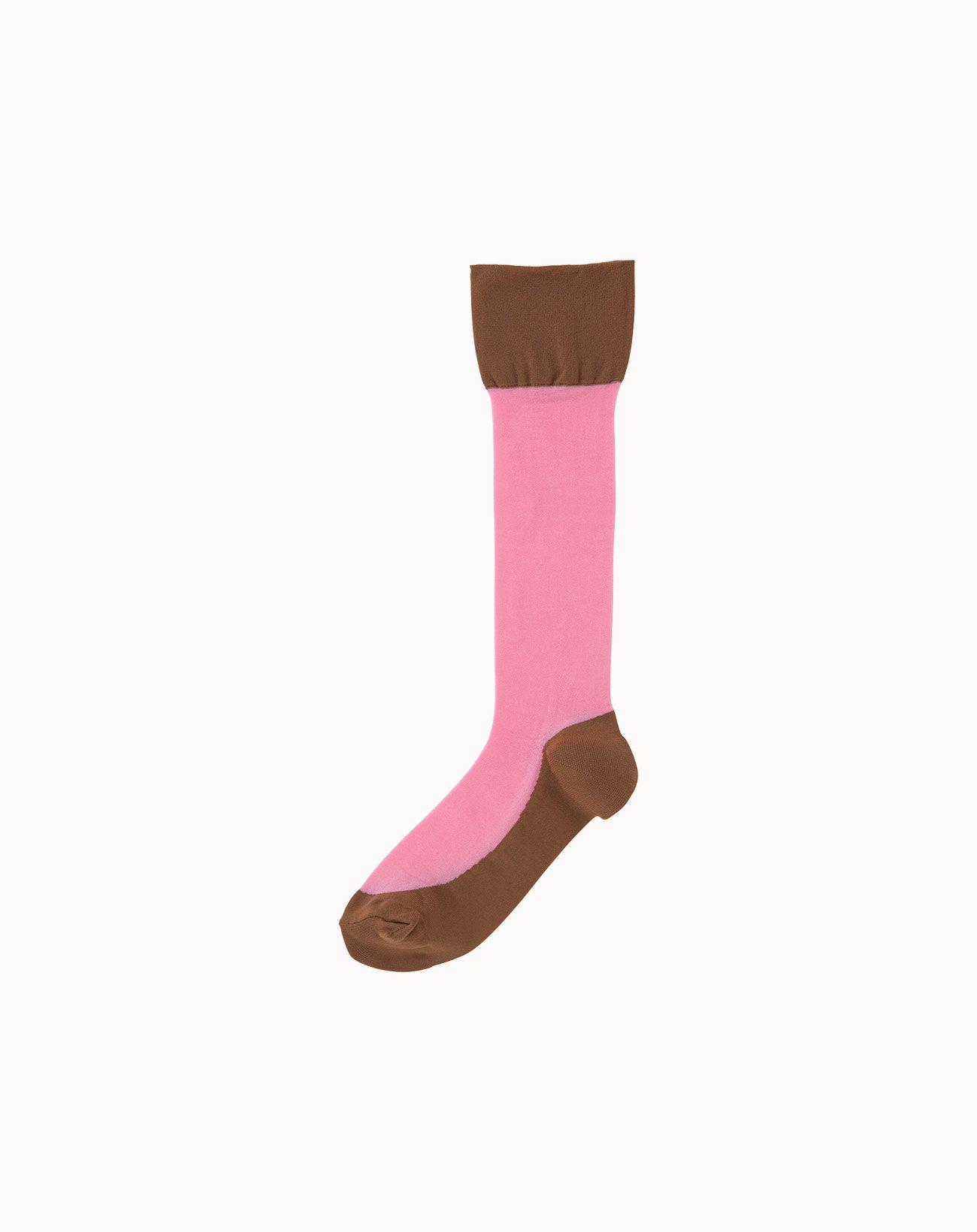 leur logette - Sheer Pattern Socks-Light Pink