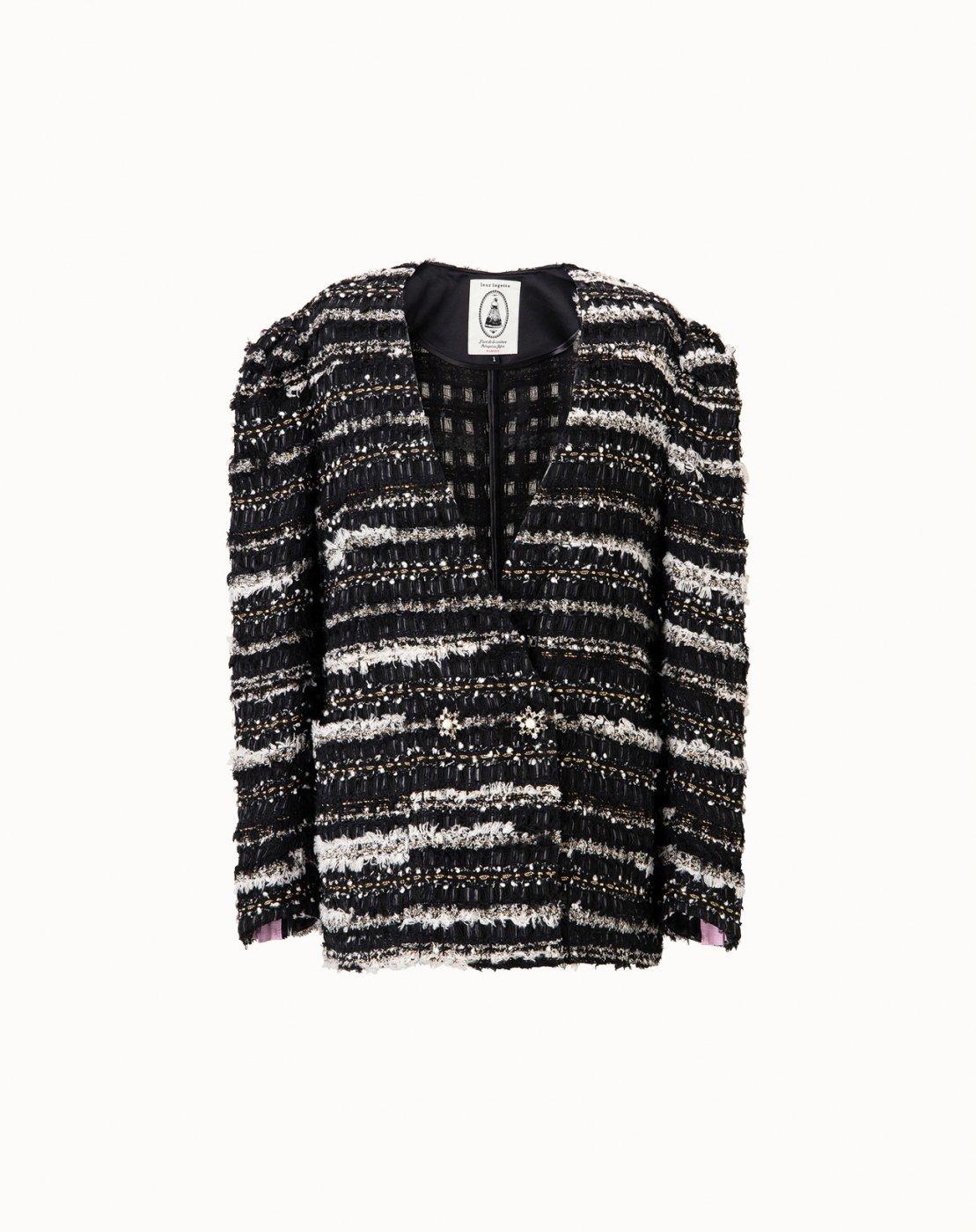 leur logette - Art Couture Tweed Jacket - Black