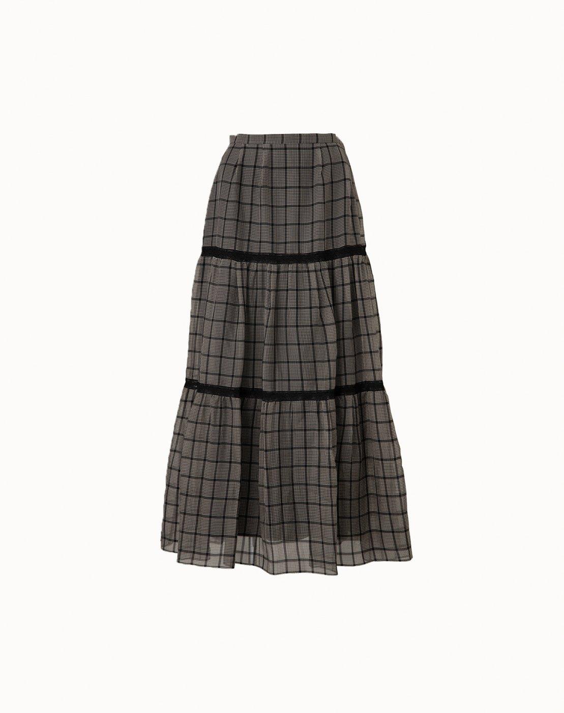 leur logette - Fleeting Check Skirt  - Black