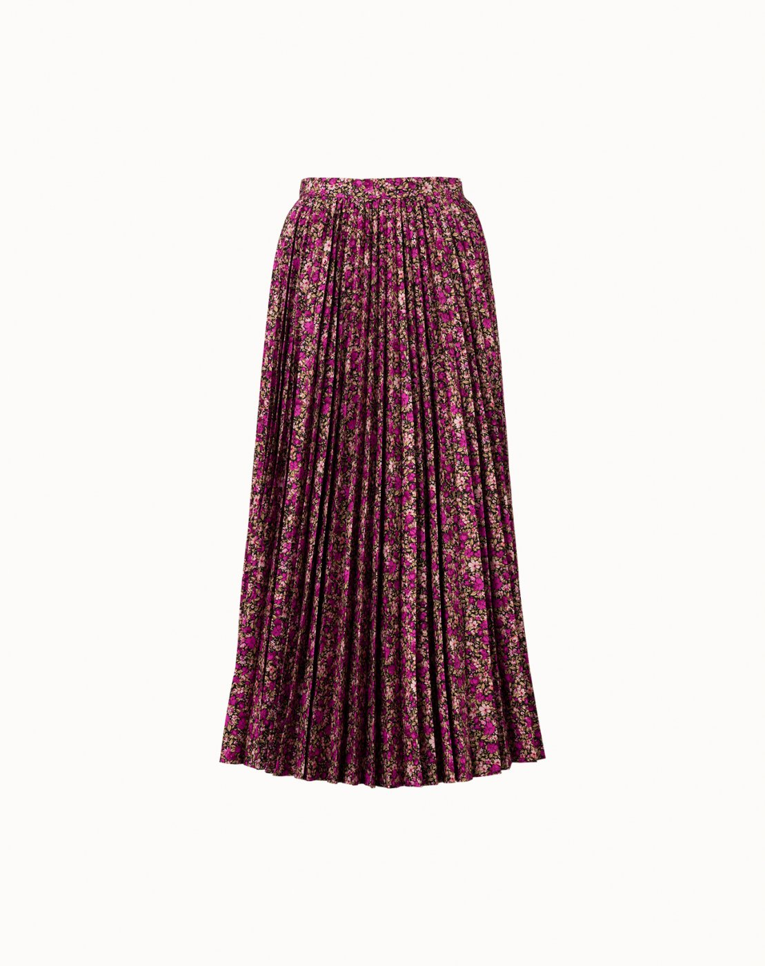 leur logette - Mini Flower Cotton Pleats Skirt - Dark Pink
