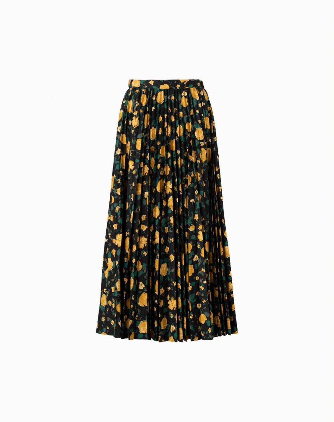 leur logette - Wonder Rose Cotton Pleats Skirt - Black