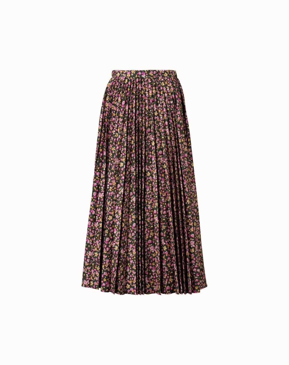 leur logette - Mini Flower Cotton Pleats Skirt - Brown