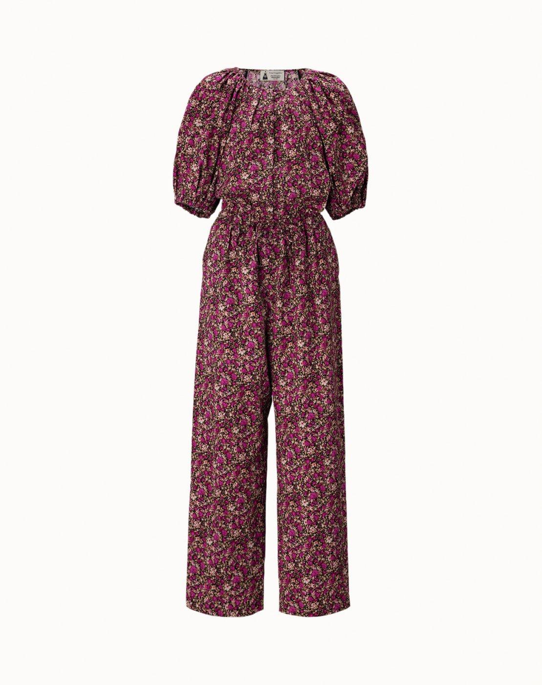 leur logette - Mini Flower Cotton All In One - Dark Pink