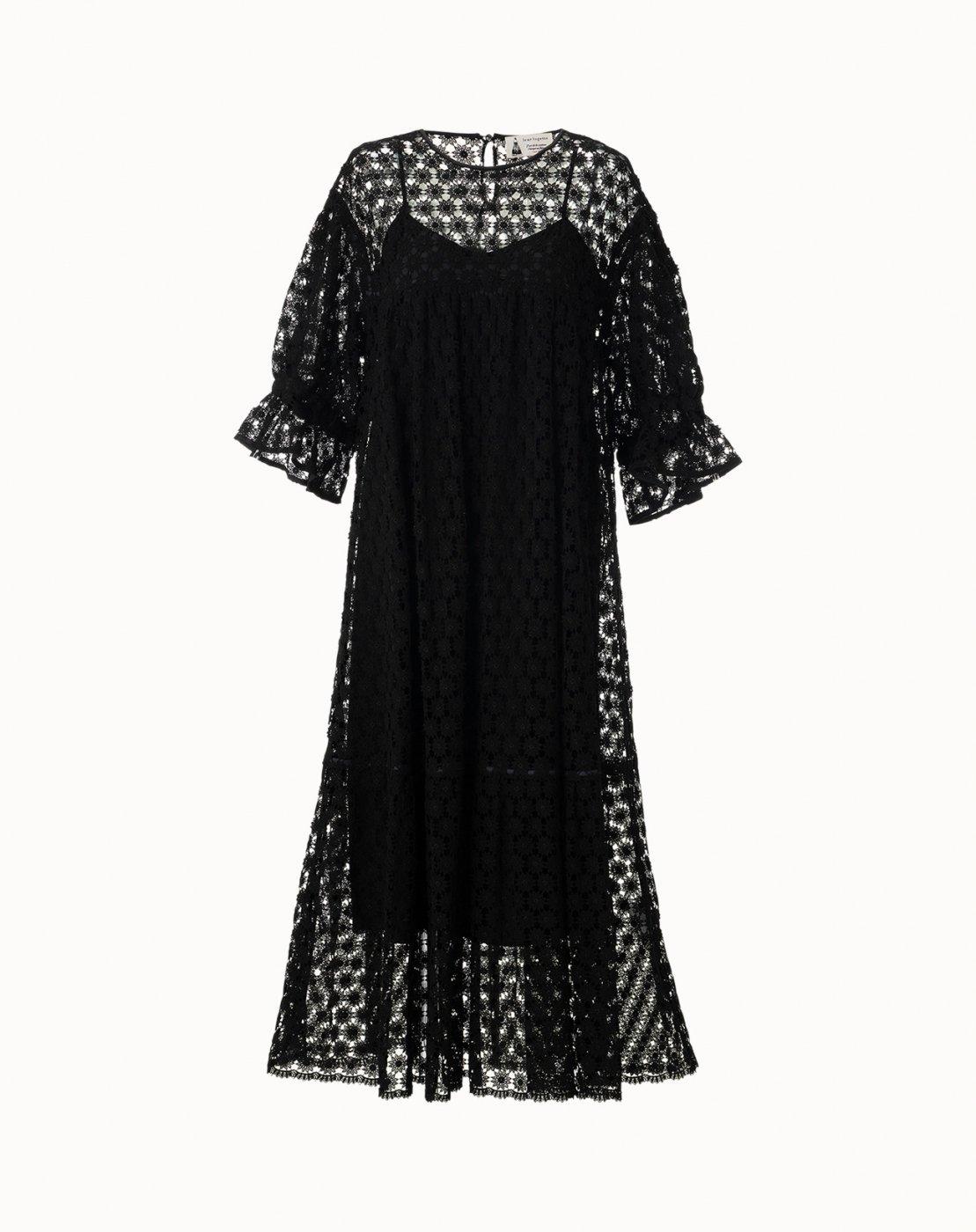 leur logette - Embroidery Dress - Black