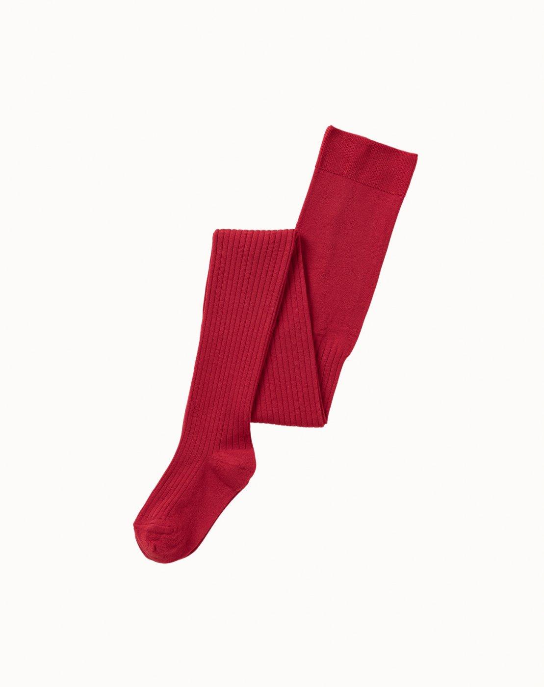 leur logette - Silk Rib Tights - Red