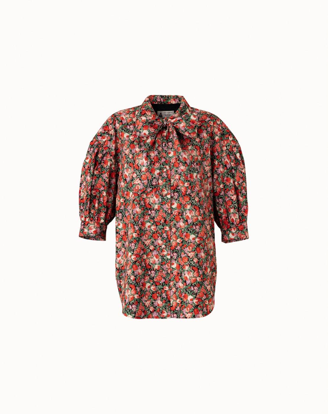 leur logette - 【Maison leur logette】 Matisse Flower Print Blouse - Red