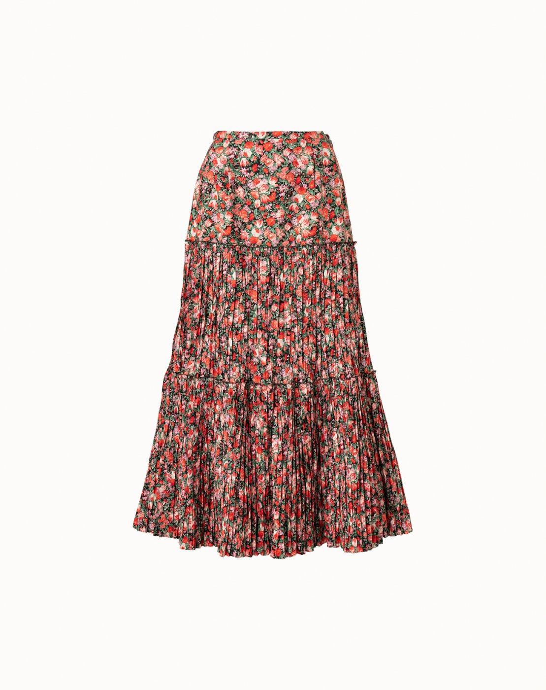 leur logette - Matisse Flower Print Pleats Skirt - Red