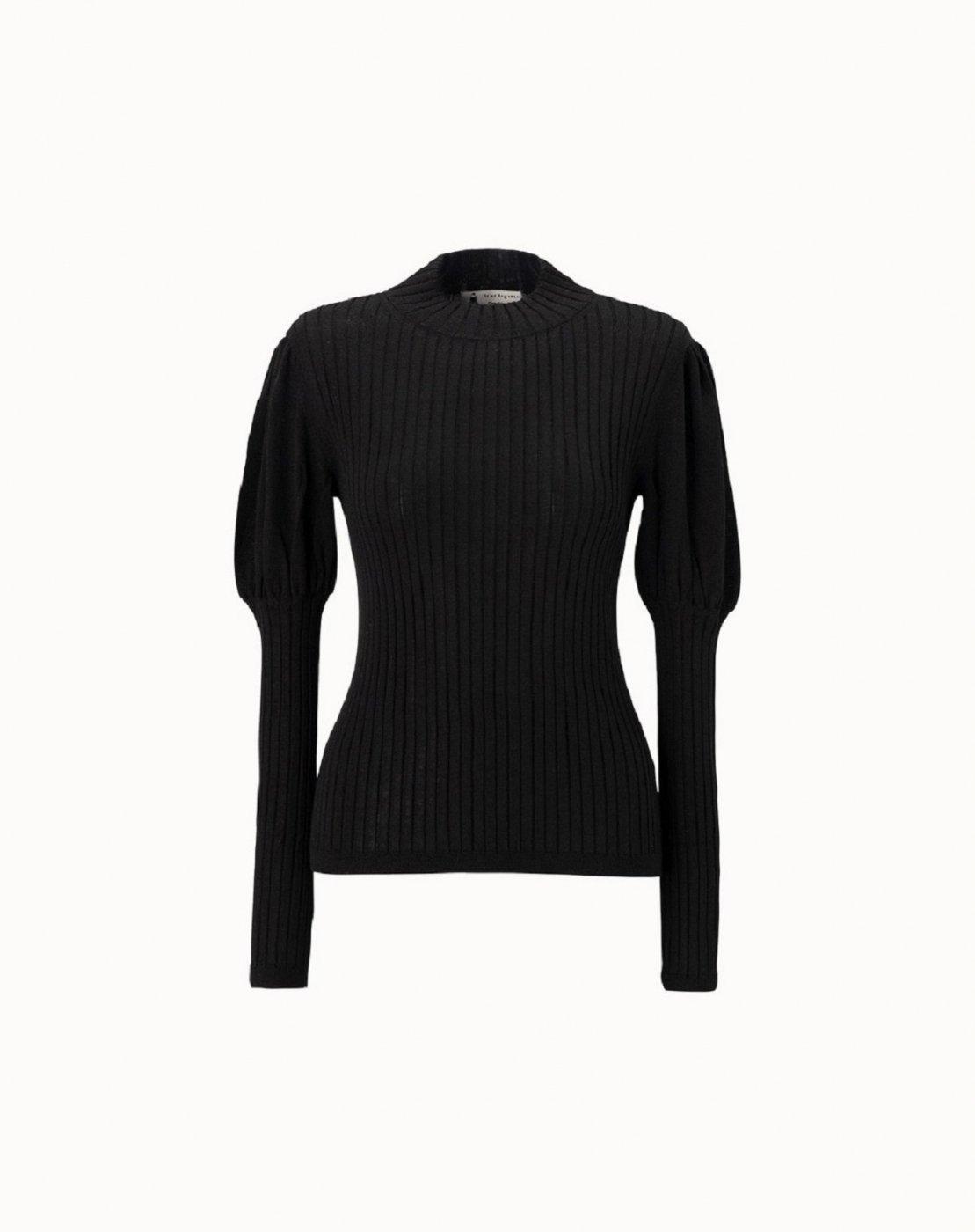 leur logette - Cashmere Silk Rib Top - Black