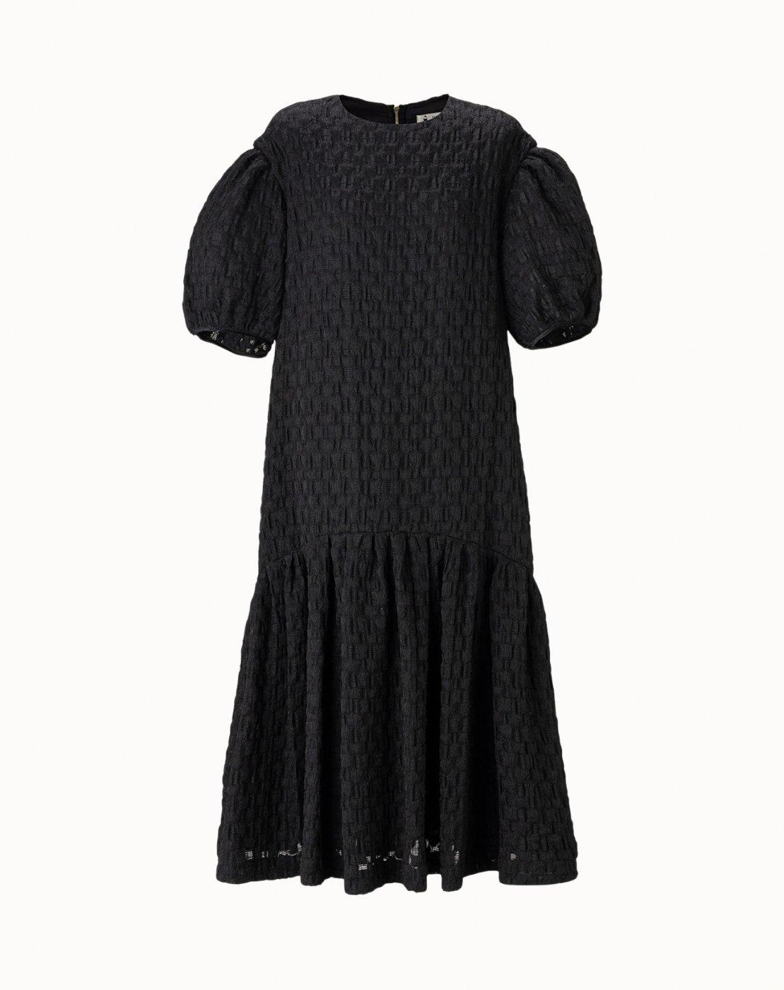 leur logette - Airy Jaquard Dress - Black
