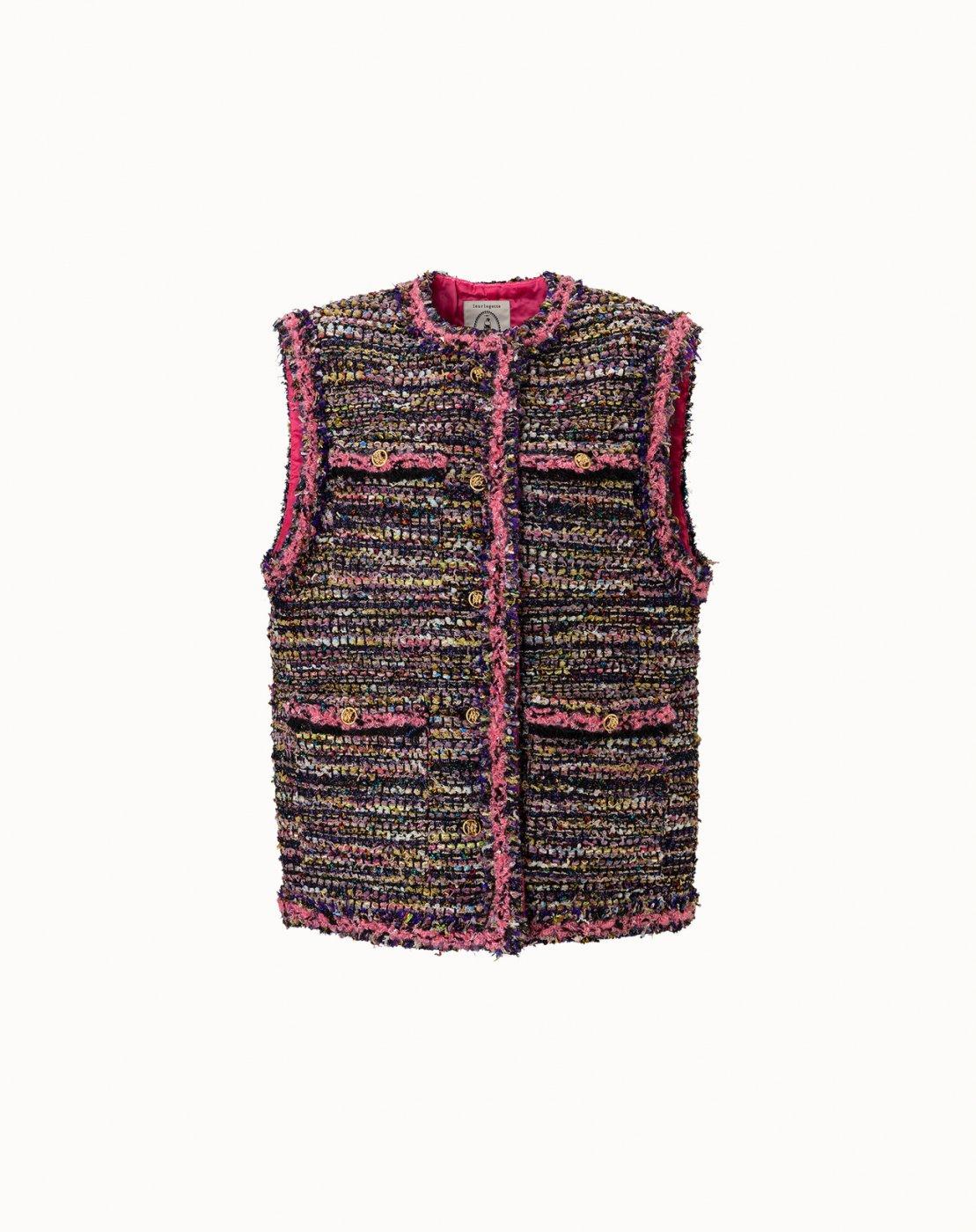 leur logette - <img class='new_mark_img1' src='https://img.shop-pro.jp/img/new/icons47.gif' style='border:none;display:inline;margin:0px;padding:0px;width:auto;' />【Maison leur logette】Spangle Tweed Vest - Purple