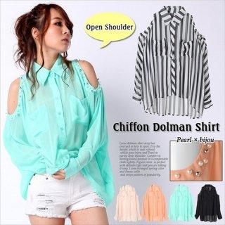 ☆パール×ビジュー付 ◆シフォン ルーズ ドルマン オープンショルダーシャツ