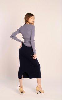 カラーニットスカート