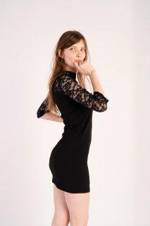 フローラルハイネック タイト ドレス