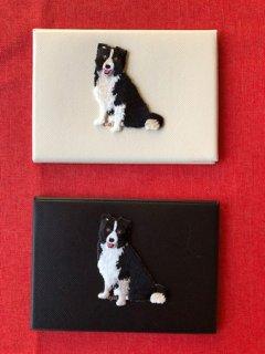 ボーダーコリー刺繍ワンポイント付きカードケース