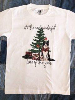 ボーダーコリーのクリスマス柄!Tシャツ<大人用>