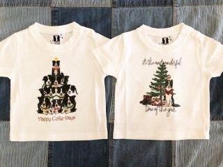 ボーダーコリーのクリスマス柄!Tシャツ<キッズ用>