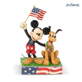 【JIM SHORE】ディズニートラディション:ミッキー&プルート アメリカンフラッグ