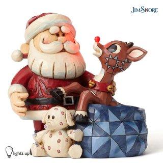 予約商品【JIM SHORE】ルドルフトラディション:ルドルフ -Santa with Rudolph in Toy Bag-LEDモデル