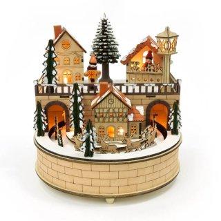 予約商品 クリスマス商品:ウッドライトオルゴール −スノータウン−