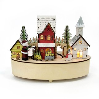 予約商品 クリスマス商品:ウッドライトオルゴール −ステーション−