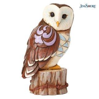 【JIM SHORE】ハートウッドクリーク:Mini Owl On Stump Figurine