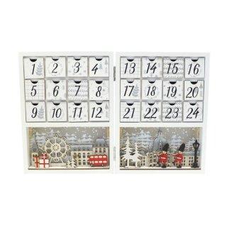 【予約商品】 クリスマス商品:LED アドベントカレンダー ホワイトウッド