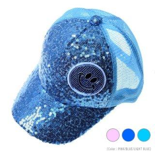 キッズ用 メッシュキャップ スパンコール (Color:PINK/BLUE/LIGHT BLUE)