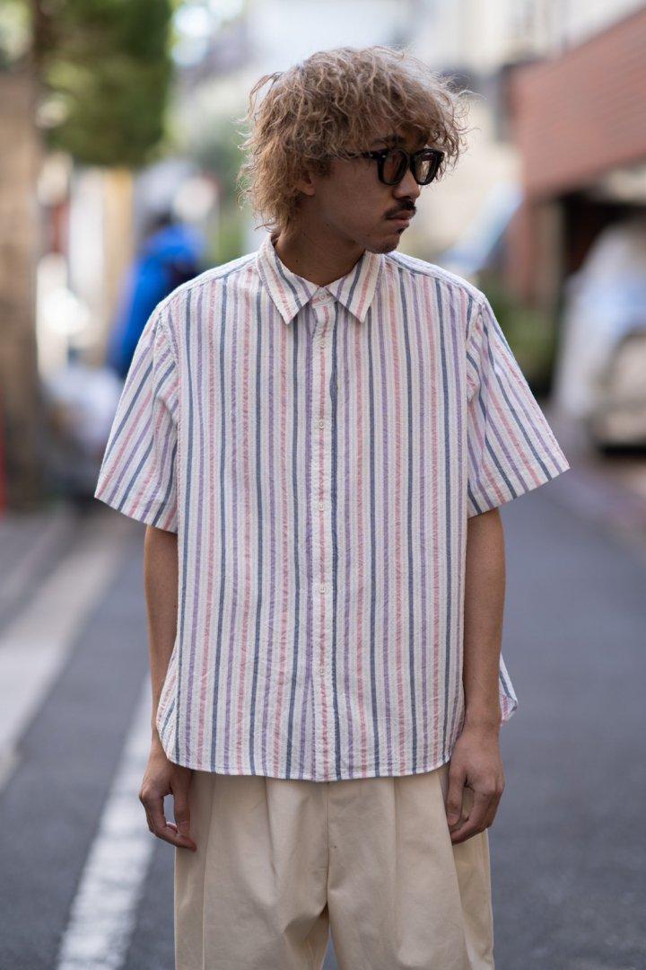 KUON / CANDY STRIPE SASHIKO SHIRT