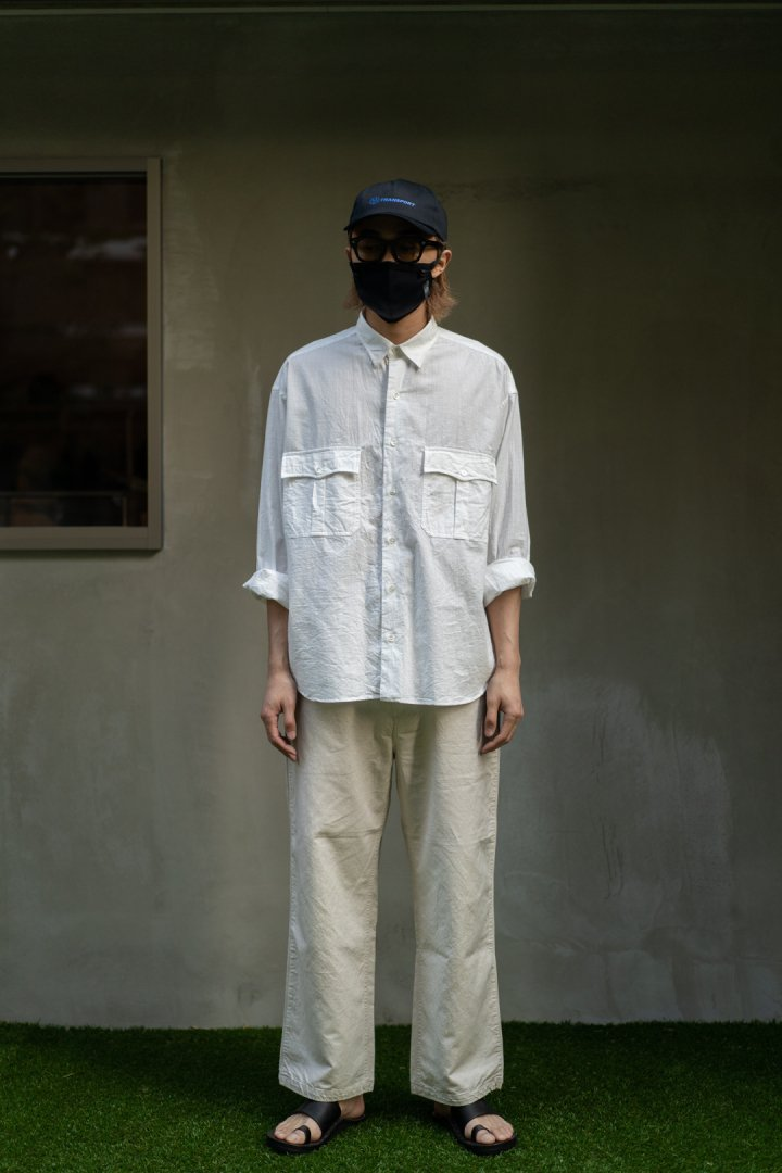 PORTER CLASSIC / ROLL UP VINTAGE COTTON SHIRT -WHITE-