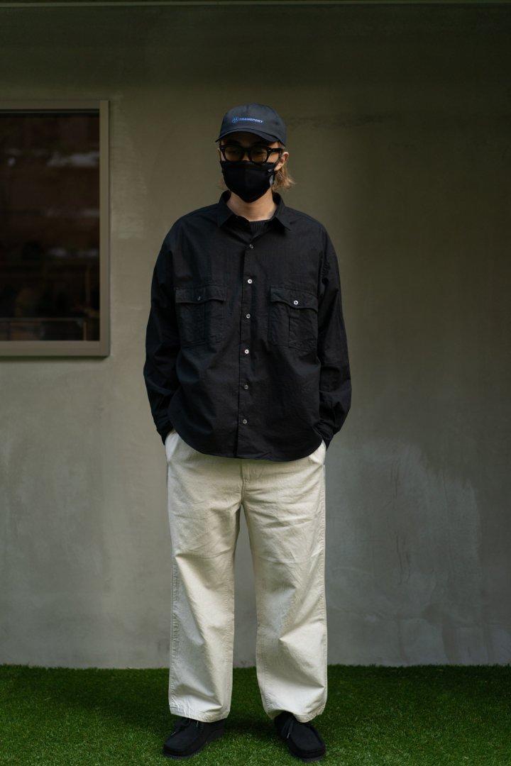 PORTER CLASSIC / ROLL UP VINTAGE COTTON SHIRT -BLACK-