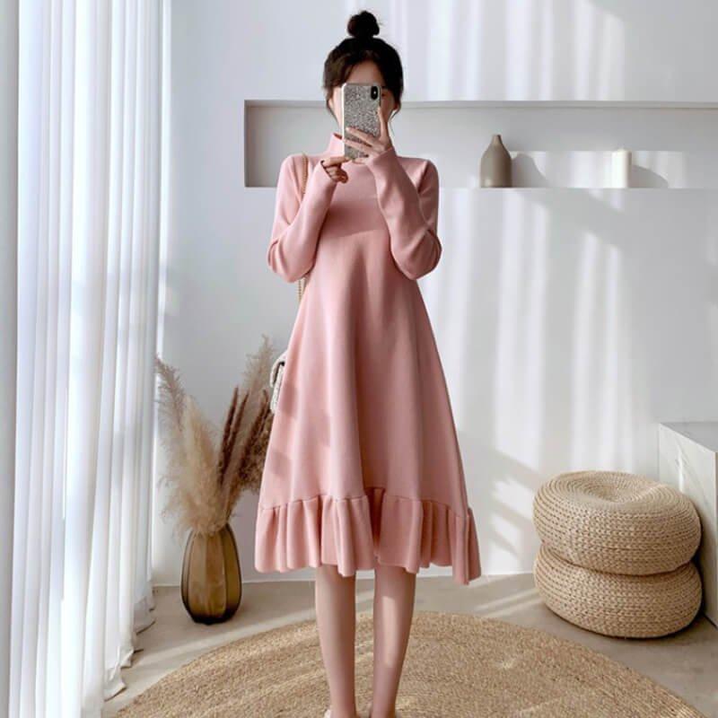 裾フリルニットワンピース(2colors)