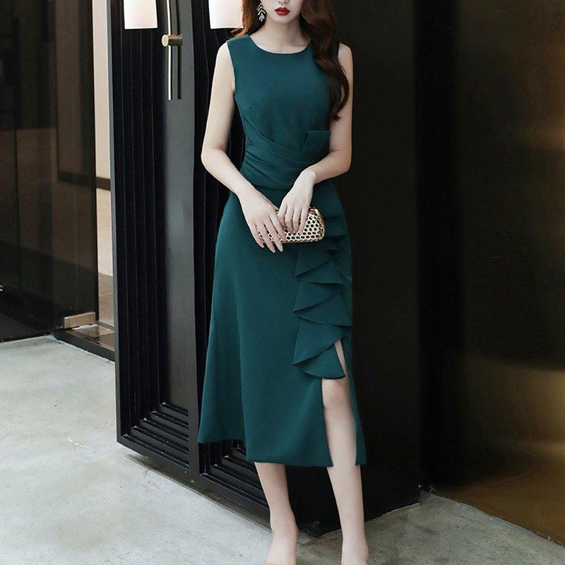 フリルスリットイブニングドレス(4colors)