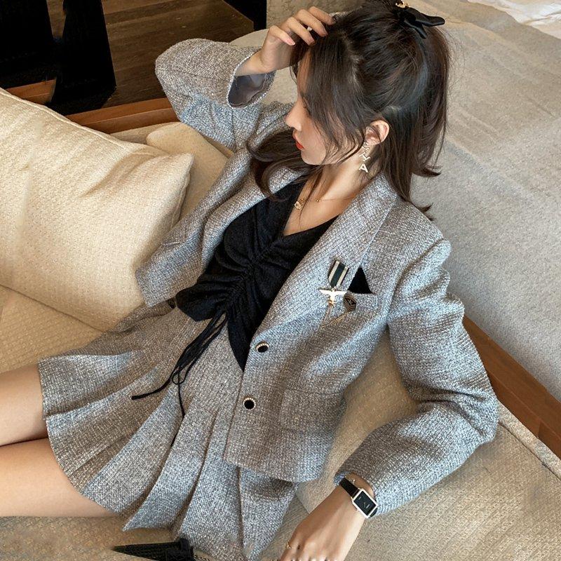 【即納】バッジ付ツイードショートジャケット+プリーツスカートセット