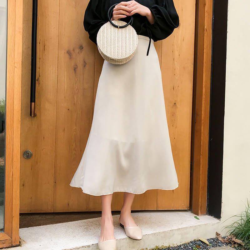 ミモレ丈Aラインスカート(2colors)