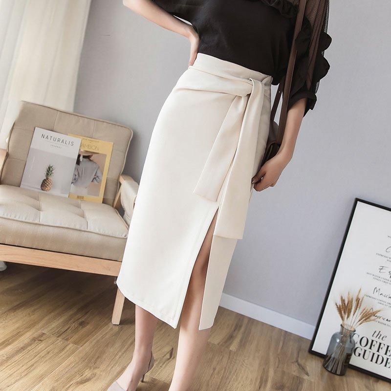 ウエストリボンスリット入りタイトスカート(2colors)