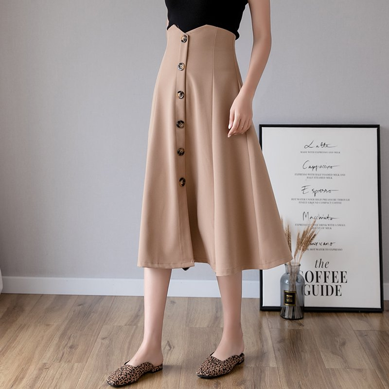 フロントボタンミモレ丈フレアスカート(3colors)