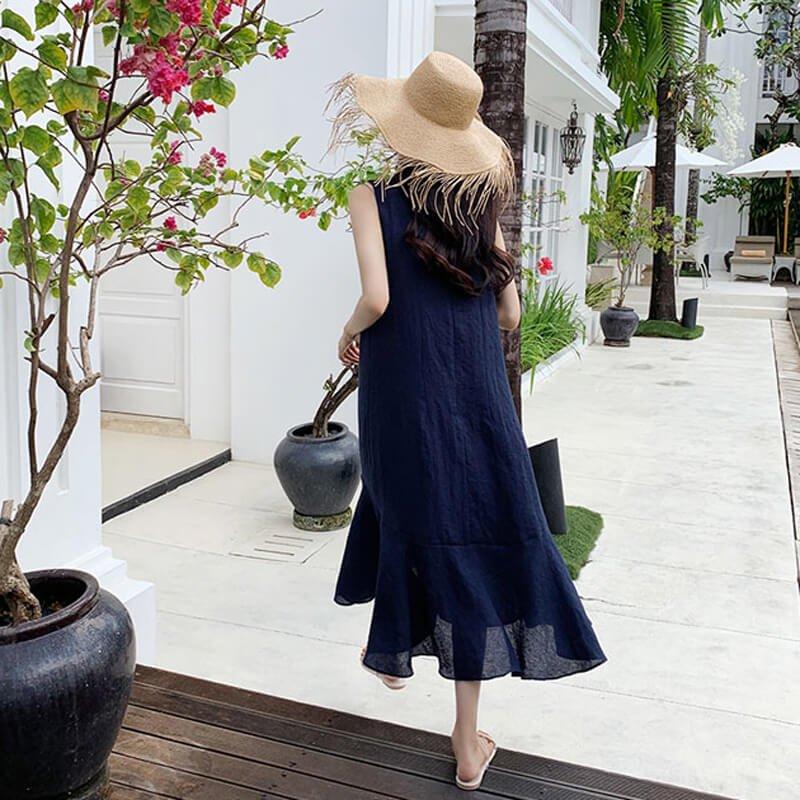 リネンブレンド裾フレアワンピース(2colors)