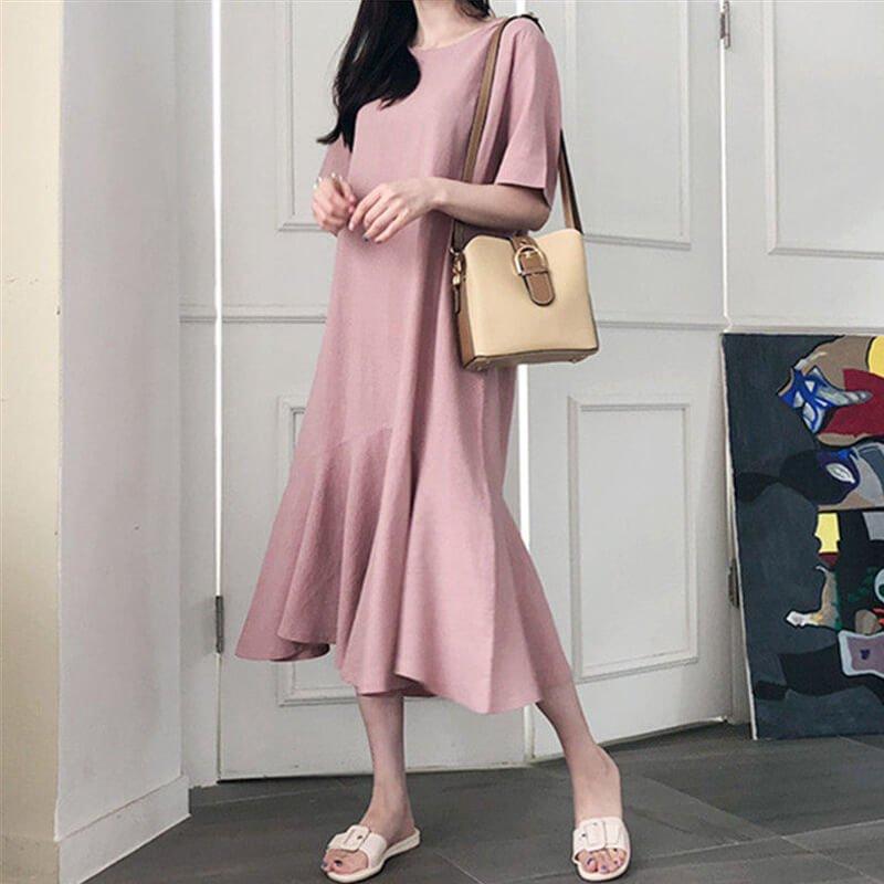 裾フレアTシャツワンピース(4colors)
