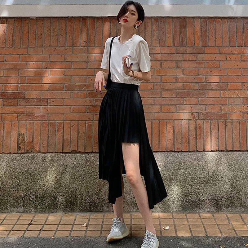 アシンメトリープリーツスカート(2colors)