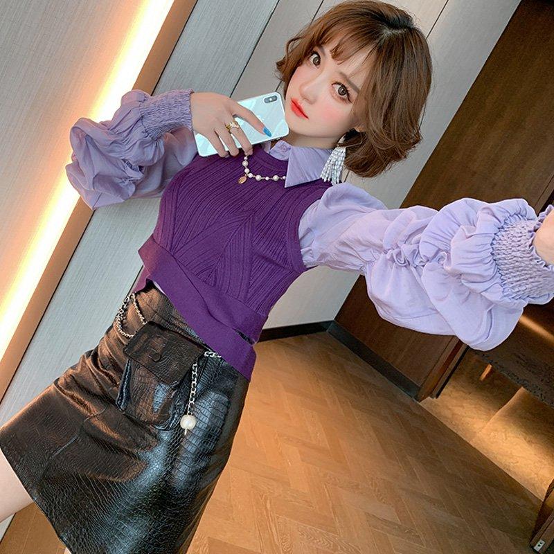 袖コンシャスシャツ×ニットベスト×レザータイトスカート【上下別売り可】