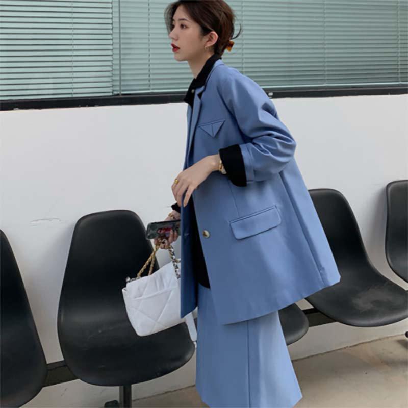 ルーズテーラードジャケット×タイトスカートセットアップ(2colors)