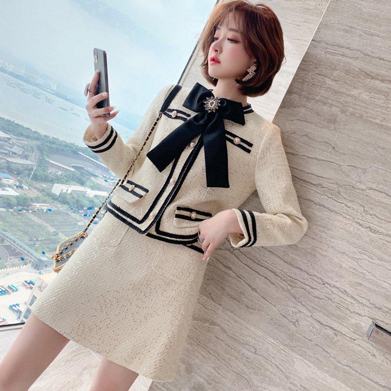 リボンタイ付きツイードジャケット×ミニタイトスカート(2colors)