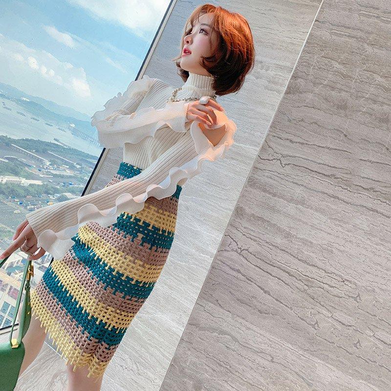袖コンシャスリブニット×刺繍ボーダータイトスカート【上下別売り可】