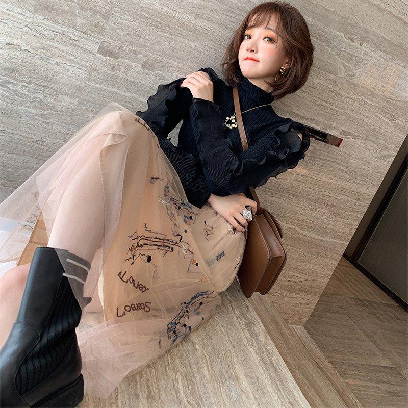 袖コンシャスリブニット×刺繍チュールスカート【上下別売り可】