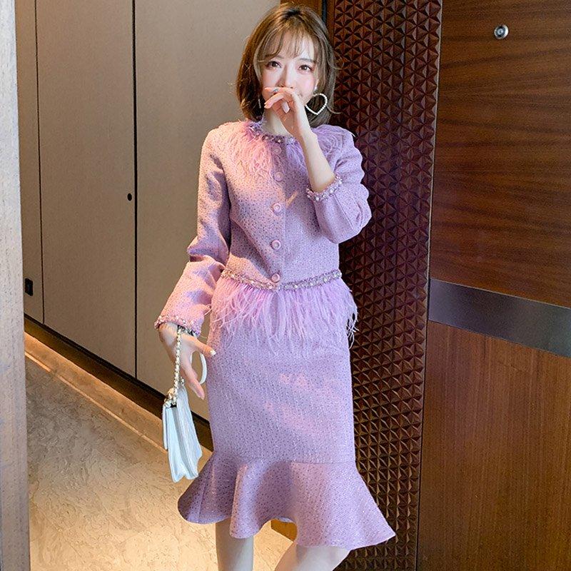 フェザードッキングツイードジャケット×マーメイドスカート(2colors)