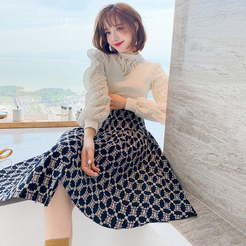 レースドッキングニット(2colors)×刺繍イレヘムフレアスカート【上下別売り可】