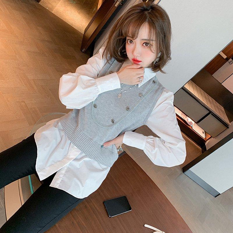 フロントボタンベストドッキングシャツ×ブラックスキニーパンツ【上下別売り可】