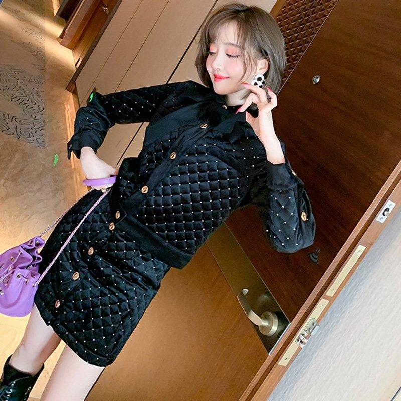 リボンタイ付きキルティングジャケット×フロントボタンタイトスカート(2colors)