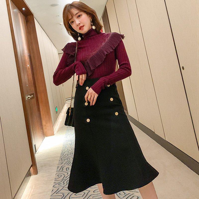 【即納】アシンメトリーフリルニットトップス×ダブルボタンマーメイドスカート(2colors)